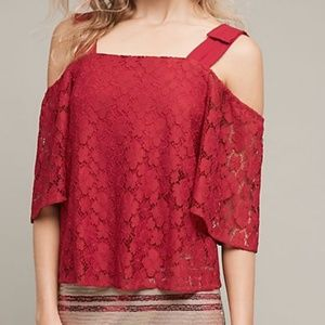 Sunday in Brooklyn Red Bowed Lace Top